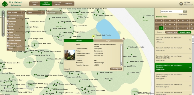 Arboretum Plant Explorer (ABE): interactive map and plant finder, zoom in for more details